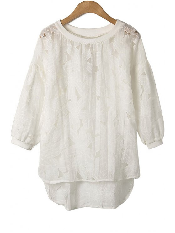 online Flower Pattern 3/4 Sleeve Blouse - WHITE S