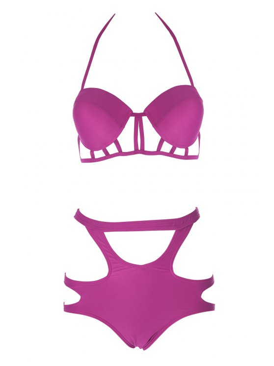 Caged High Rise Cut Out Bikini Set - PLUM L Mobile