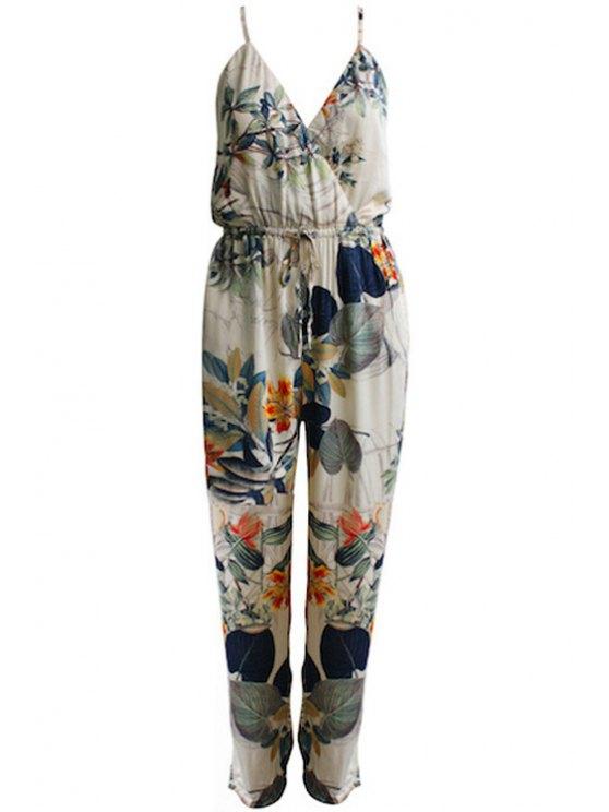 women Floral Print Tie-Up Sleeveless Jumpsuit - COLORMIX L