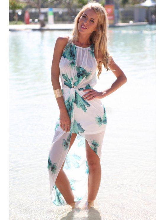 outfits Green Print Elastic Asymmetrical Dress - WHITE AND GREEN S