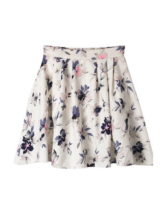 women Full Flower Pattern A-Line Skirt - WHITE ONE SIZE(FIT SIZE XS TO M)