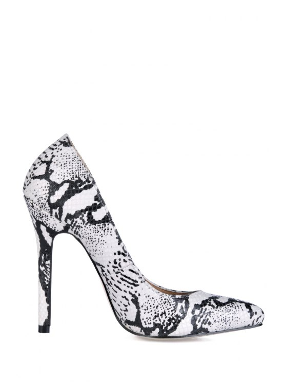 buy Snake Print Stiletto Heel Pumps - WHITE 35