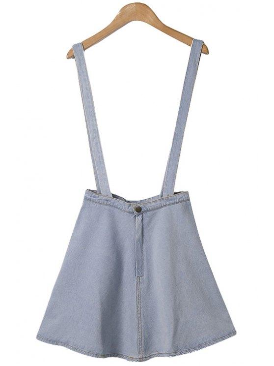 ladies Solid Color Denim Straps A-Line Skirt - LIGHT BLUE XS