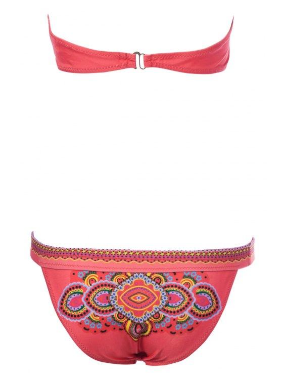 Ethnic Print Strapless Bikini Set - RED S Mobile