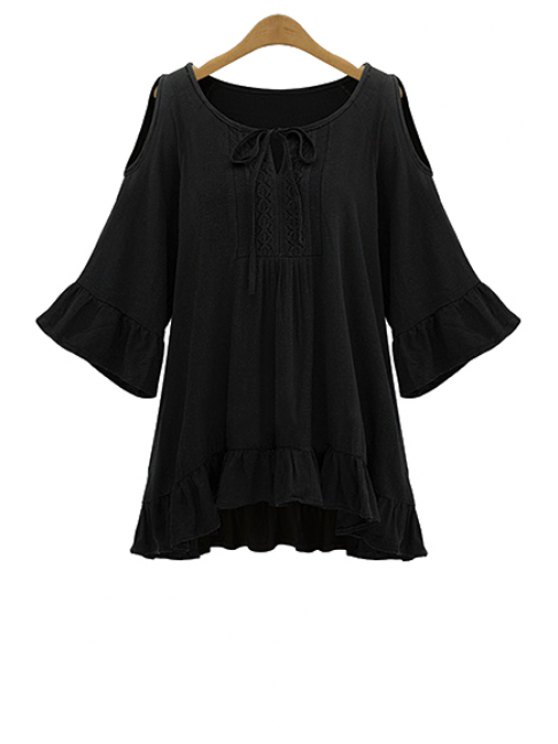 best Off-The-Shoulder Ruffles Blouse - BLACK XL