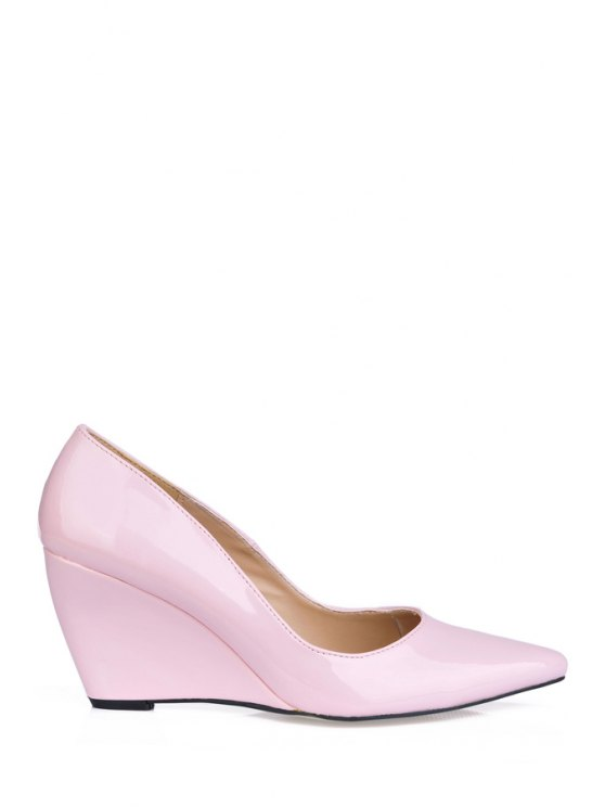 latest Patent Leather Pointed Toe Wedge Shoes - PINK 35