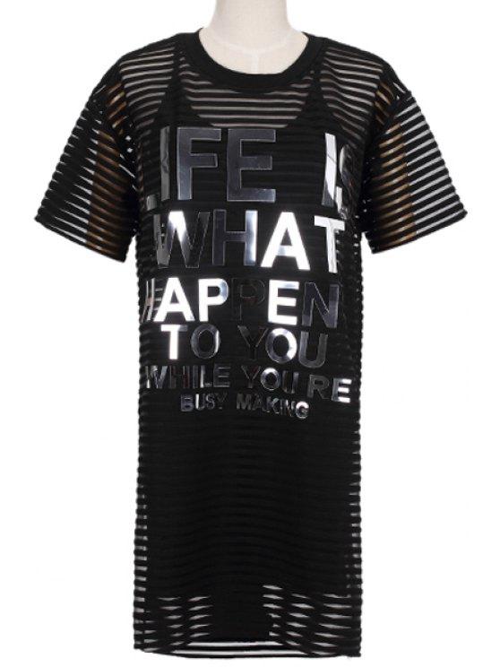 fashion Letters Print Dress and Spaghetti Straps Dress Twinset - BLACK S