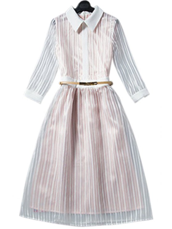 shop Striped Shirt Neck 3/4 Sleeve Dress - CHAMPAGNE S