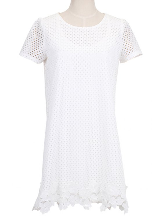 affordable White Hollow Short Sleeve Dress - WHITE S