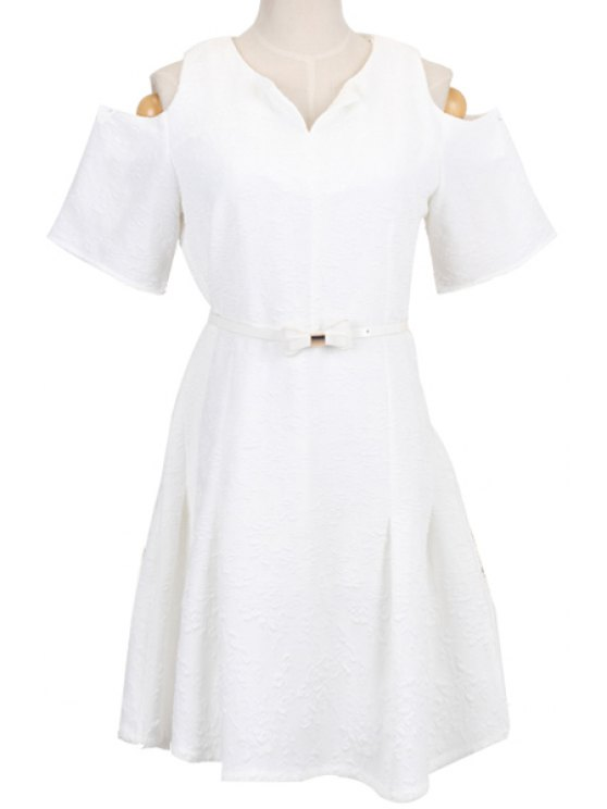trendy White Off-The-Shoulder A-Line Dress - WHITE S