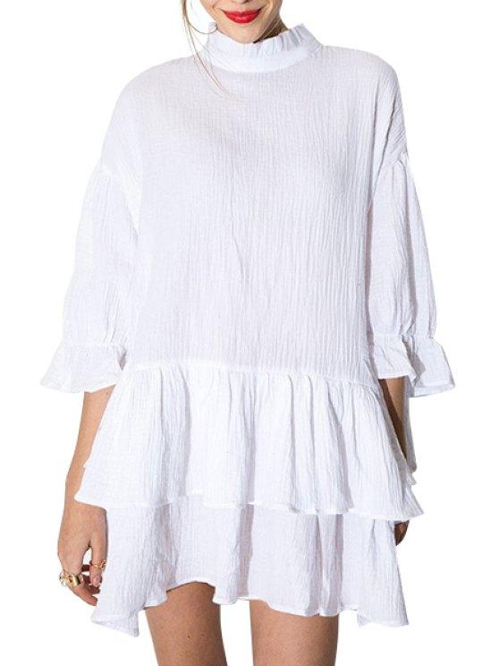 women's Flounce Splicing Ruffle 3/4 Sleeve Dress - WHITE XS