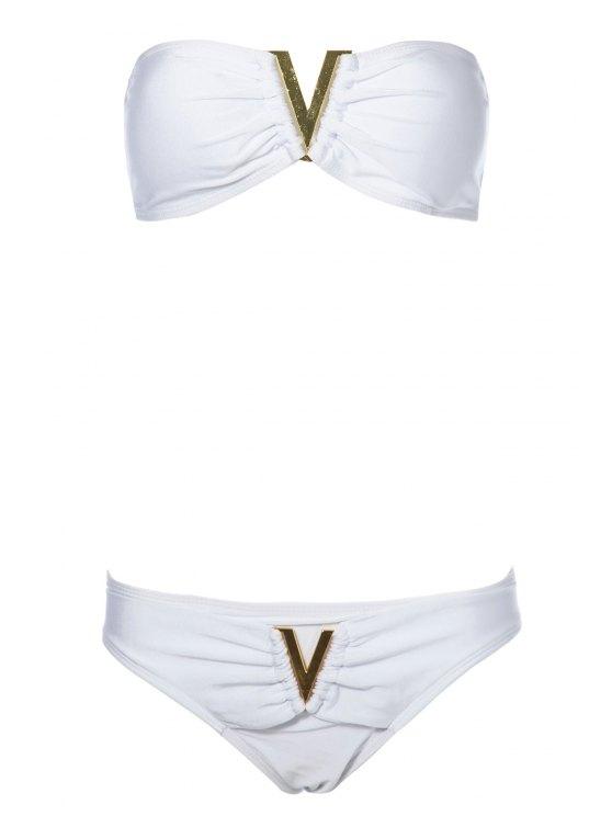 latest Solid Color Ruffle Sequined Bikini Set - WHITE S