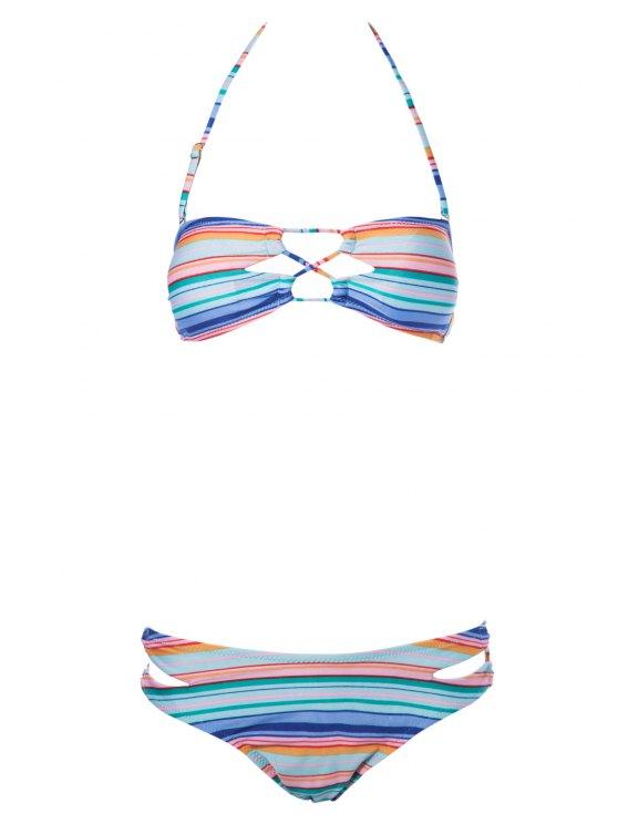 womens Striped Strapless Bikini Set - STRIPE S
