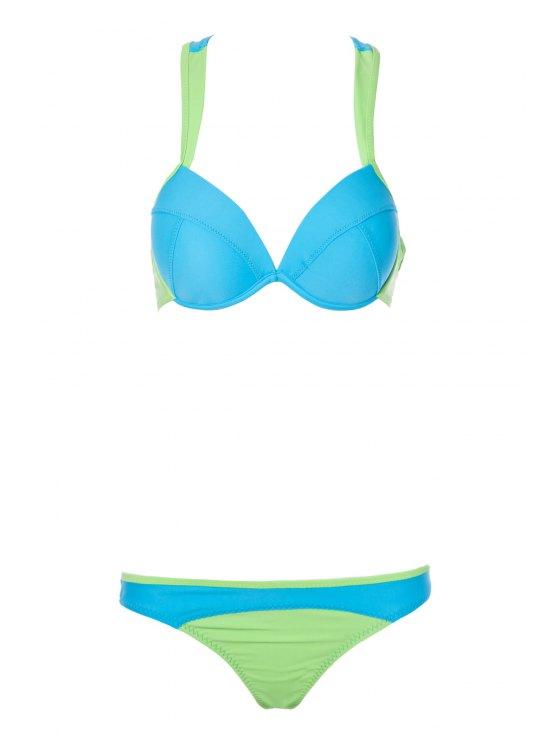 women's Color Block Splicing Straps Bikini Set - BLUE S