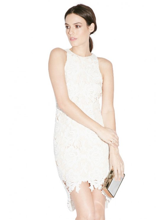 chic Asymmetrical Openwork Lace Sleeveless Dress - WHITE XS