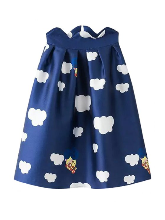 latest Full Cloud Print A-Line Skirt - DEEP BLUE S