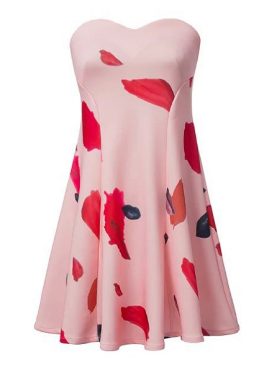 latest Lip Print Strapless A-Line Dress - PINK S