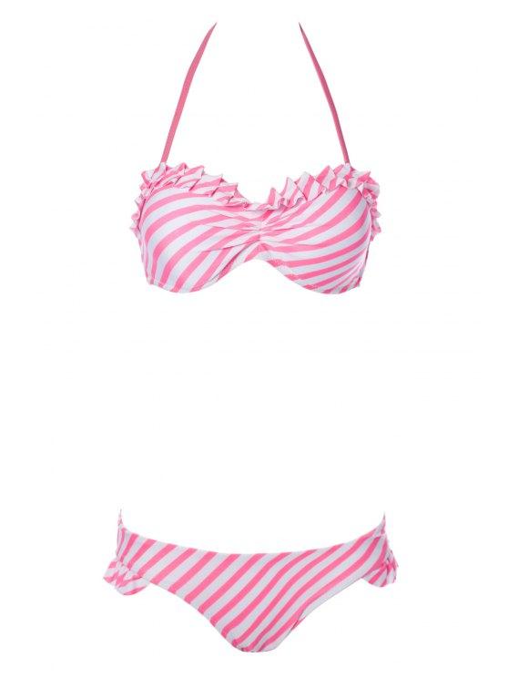 latest Pink Striped Halter Bikini Set - STRIPE L