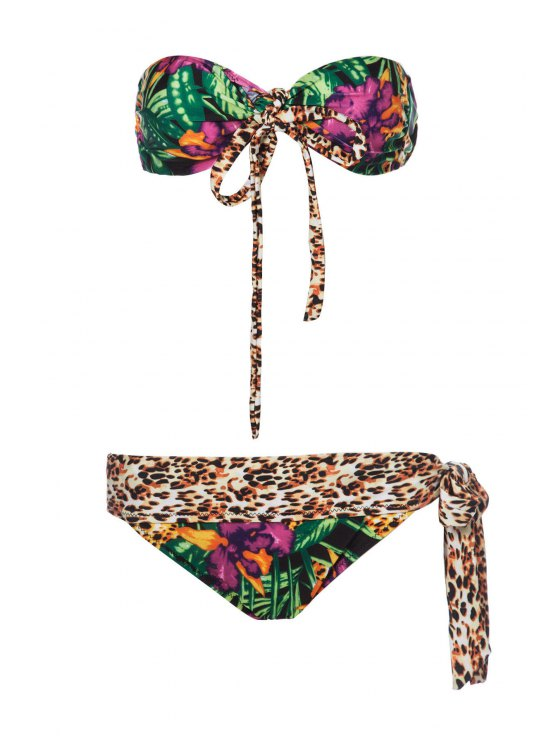 trendy Leopard Palm Print Bandeau Bikini Set - COLORMIX S