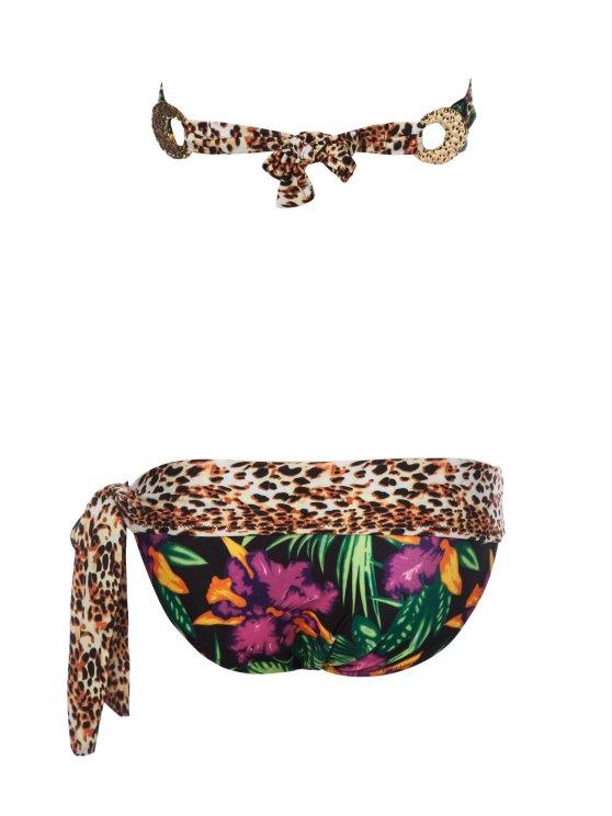 Leopard Palm Print Bandeau Bikini Set - COLORMIX M Mobile