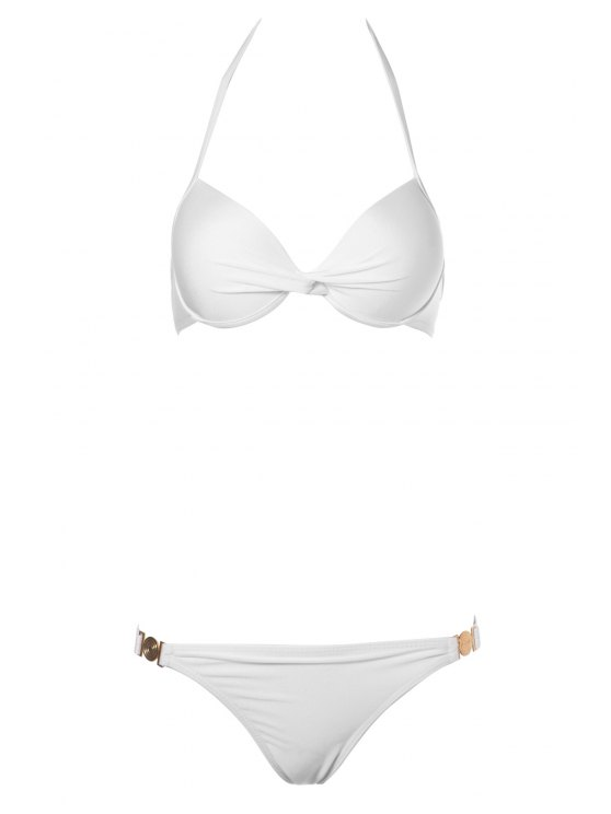 chic Push-Up Solid Color Bikini Set - WHITE M