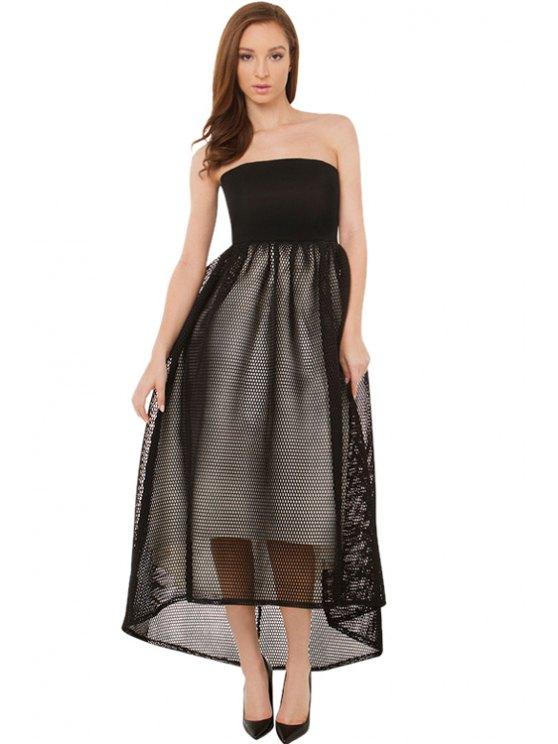 fashion Mesh Splicing Asymmetrical Dress - BLACK XS
