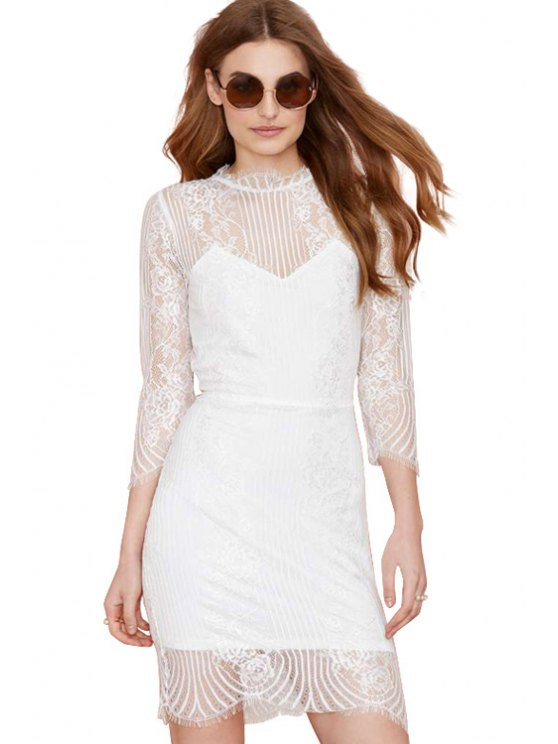 online Lace Splicing Backless 3/4 Sleeve Dress - WHITE XS