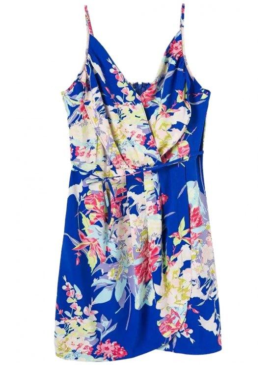 women Floral Spaghetti Straps Lace-Up Dress - BLUE S