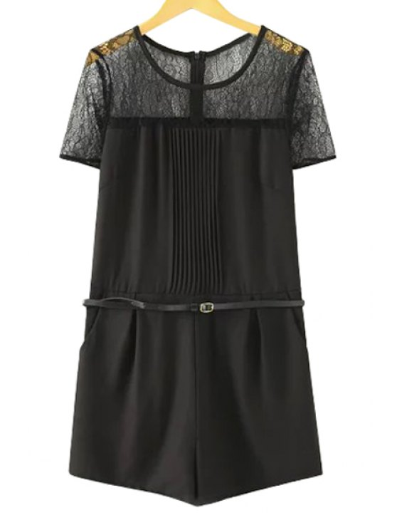 best Lace Spliced Short Sleeve Romper - BLACK S