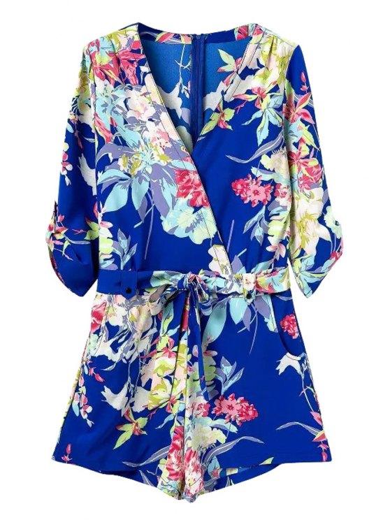 ladies Floral Print 3/4 Sleeve Romper - BLUE S