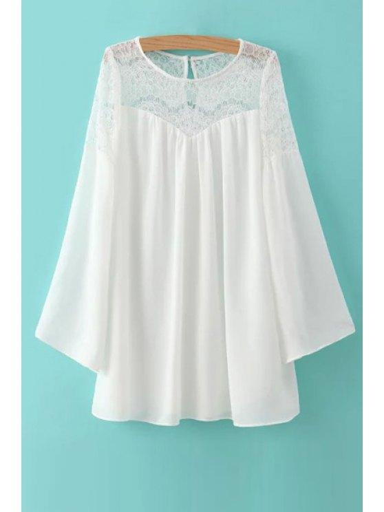 shops White Lace Spliced Long Sleeve Dress - WHITE S