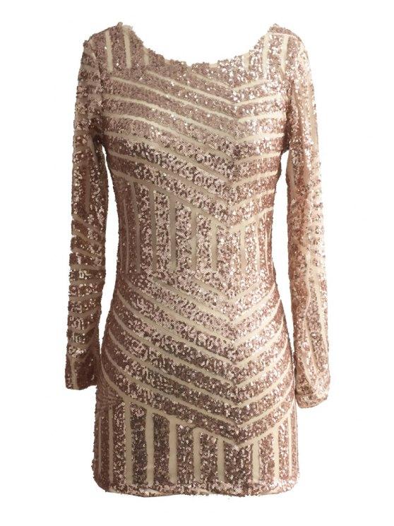 sale Sequins Backless Long Sleeve Dress - GOLDEN S