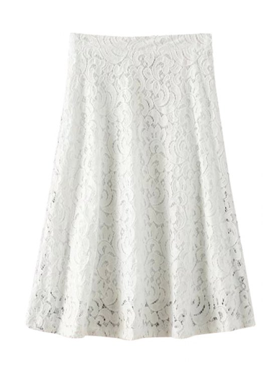 lady White Lace A-Line Skirt - WHITE M