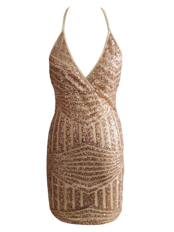 outfits Halter Neck Sequins Sleeveless Dress - GOLDEN S