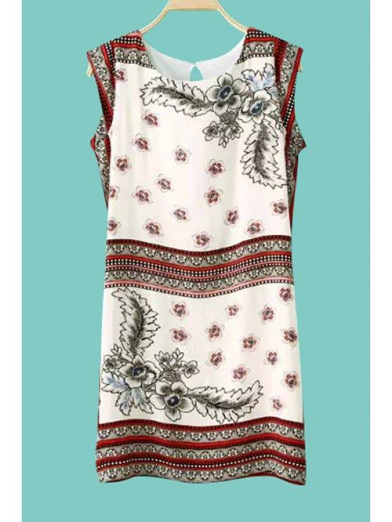 fancy Retro Floral Print Sleeveless Dress - WHITE S