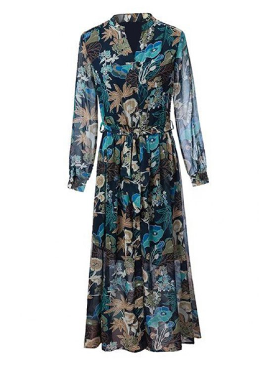 fancy Floral Long Sleeve Chiffon Maxi Dress - PURPLISH BLUE S