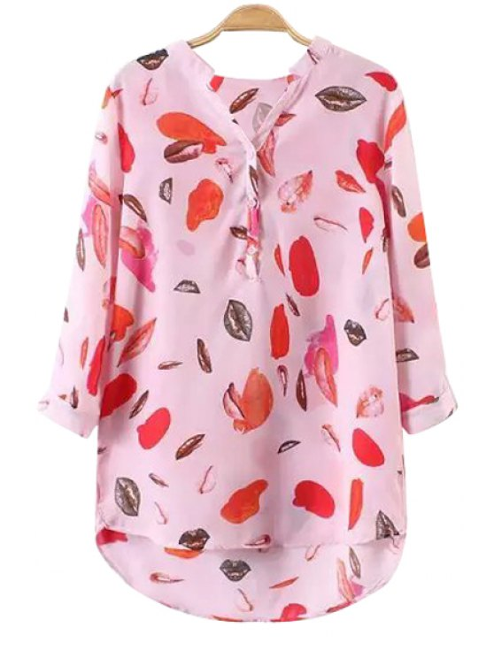 shop Lip Print 3/4 Sleeve Blouse - PINK S