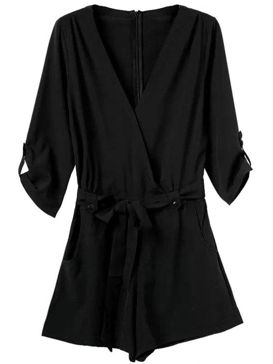 lady V-Neck Solid Color Tie-Up Romper - BLACK S