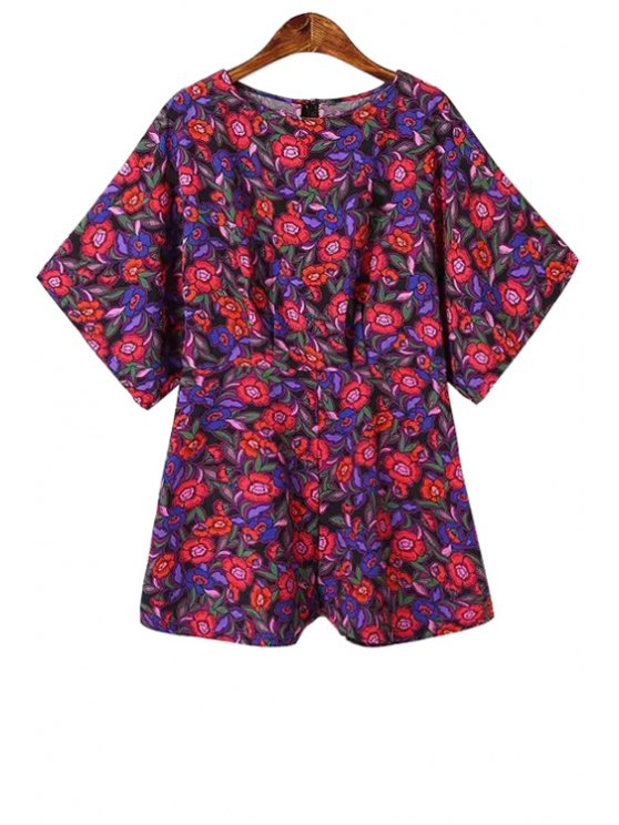 outfit Jewel Neck Floral Print Romper - RED S