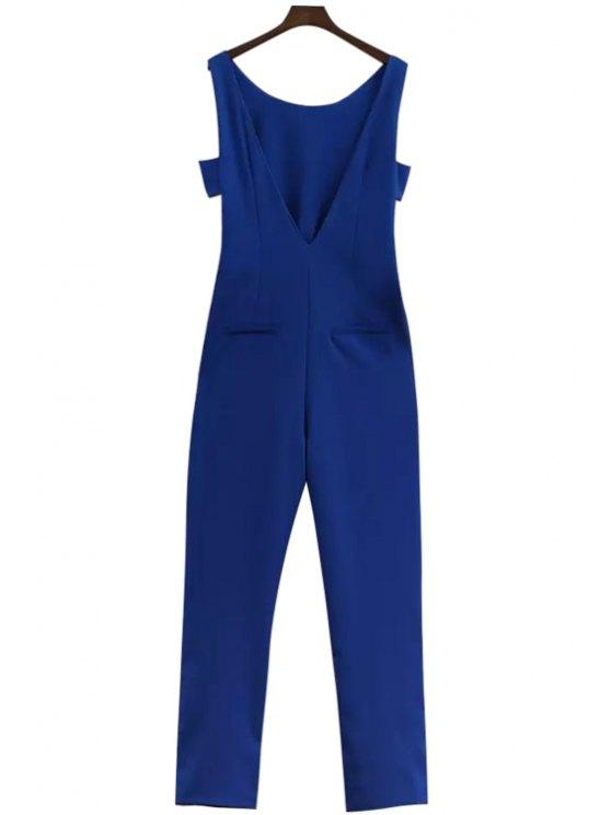fashion Blue Off-The-Shoulder Jumpsuits - BLUE L