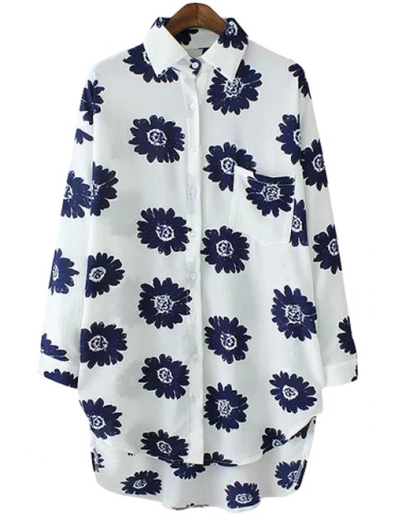 buy Asymmetrical Floral Print Long Sleeve Shirt - BLUE ONE SIZE(FIT SIZE XS TO M)