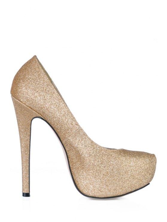 online Bling Bling Stiletto Heel Platform Pumps - GOLDEN 38