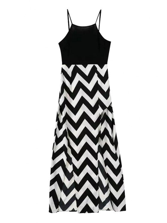 outfit Spaghetti Strap Stripe Slit Dress - BLACK XL