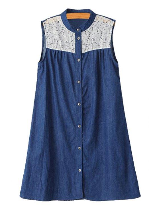 affordable Lace Spliced Denim Sleeveless Dress - PURPLISH BLUE S