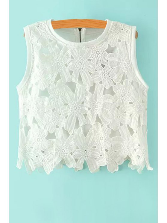 online Flower Hollow Zipper Tank Top - WHITE S
