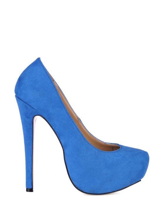 trendy Sude Sexy High Heel Pumps - BLUE 35