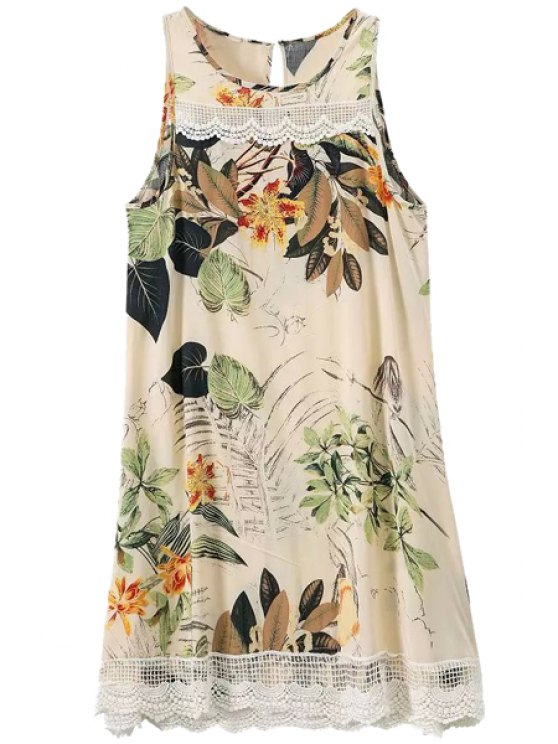 shops Leaves Print Lace Splicing Sleeveless Dress - COLORMIX S