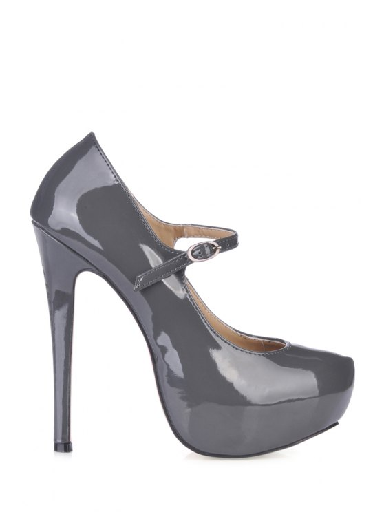 best Patent Leather Solid Color Pumps - DEEP GRAY 38