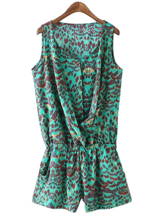 buy Leopard Pattern Ruffle Sleeveless Romper - GREEN S