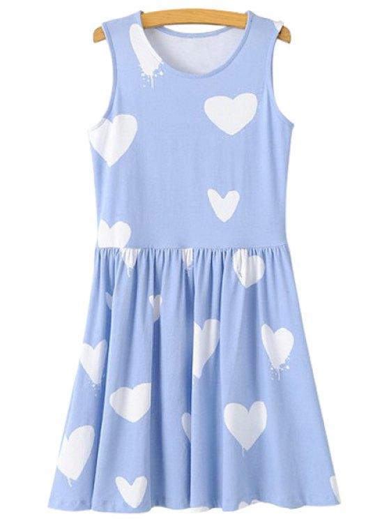 online Heart Print A-Line Sundress - LIGHT BLUE S